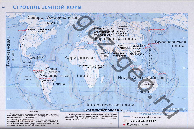 Контурная карта строение земной коы 7 класс дрофа география ответы