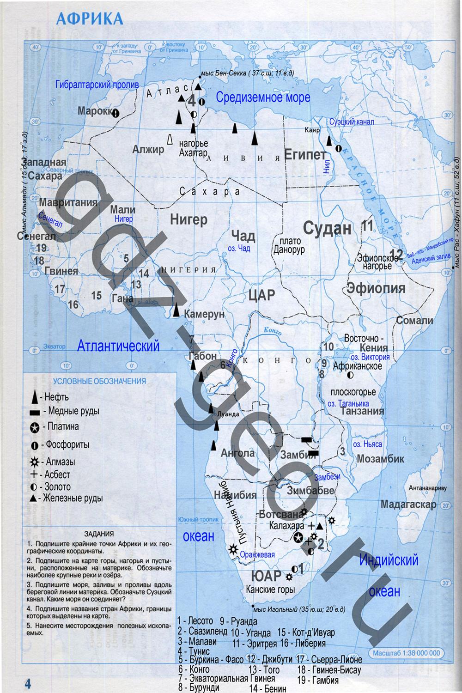 Готовые домашние задания по географии7 класс по кнтурной карте
